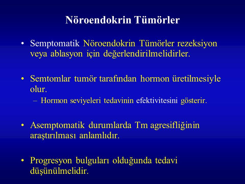 Nöroendokrin Tümörler Semptomatik Nöroendokrin Tümörler rezeksiyon veya ablasyon için değerlendirilmelidirler. Semtomlar tumör tarafından hormon üreti