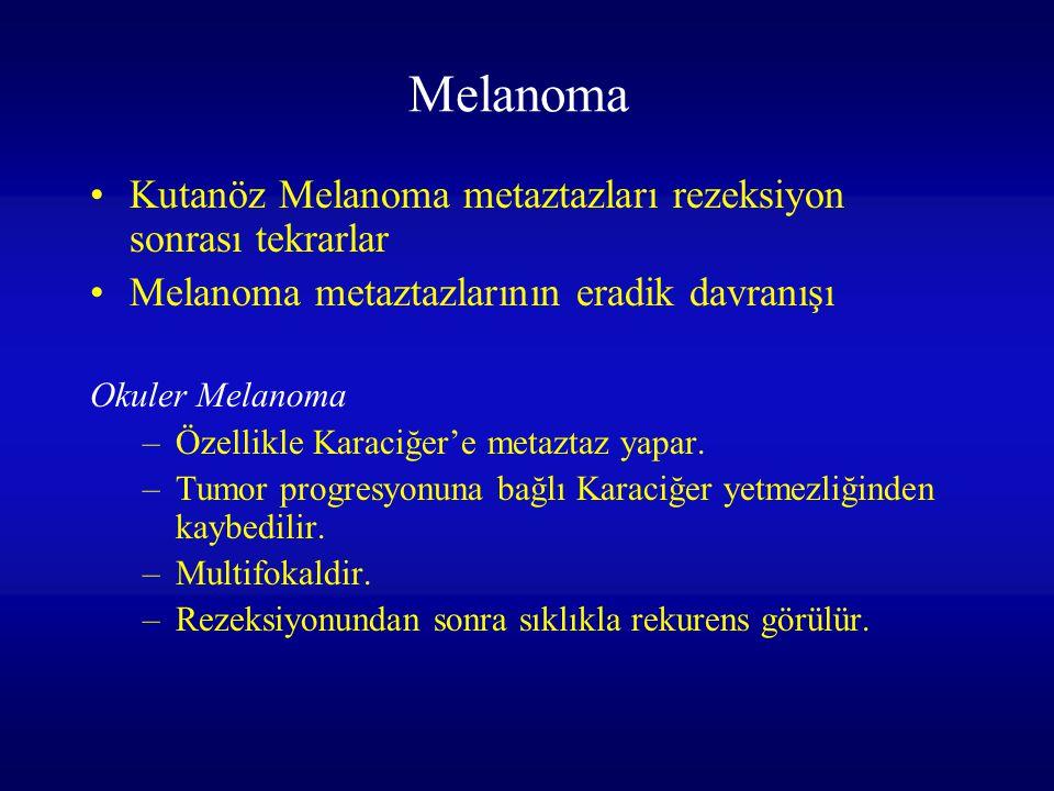 Melanoma Kutanöz Melanoma metaztazları rezeksiyon sonrası tekrarlar Melanoma metaztazlarının eradik davranışı Okuler Melanoma –Özellikle Karaciğer'e m