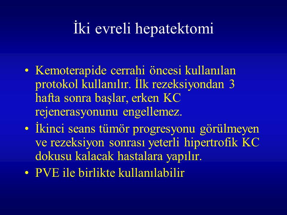 İki evreli hepatektomi Kemoterapide cerrahi öncesi kullanılan protokol kullanılır. İlk rezeksiyondan 3 hafta sonra başlar, erken KC rejenerasyonunu en
