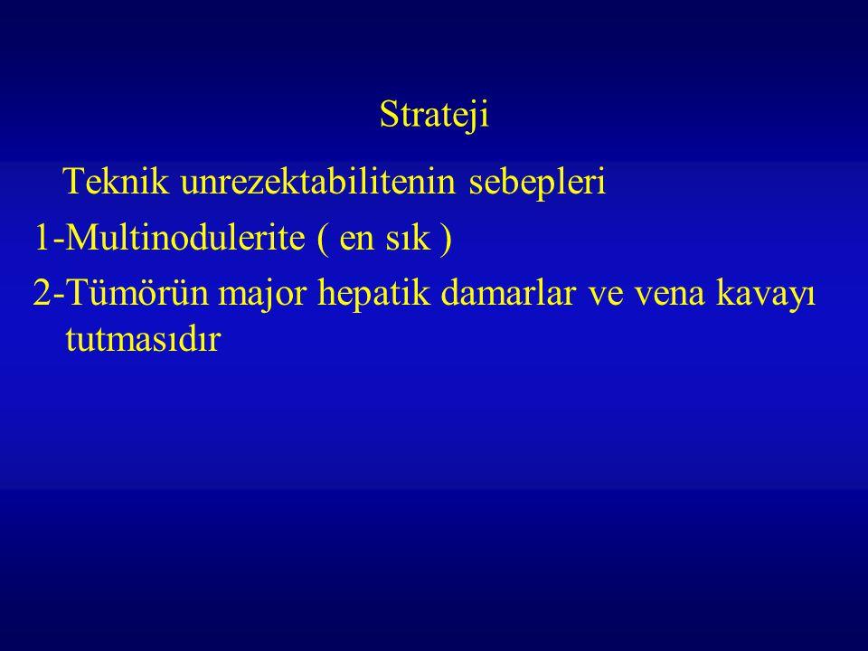 Strateji Teknik unrezektabilitenin sebepleri 1-Multinodulerite ( en sık ) 2-Tümörün major hepatik damarlar ve vena kavayı tutmasıdır