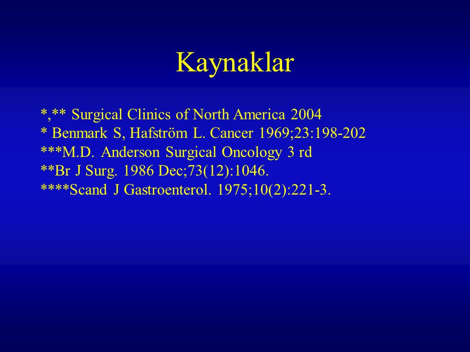 Kaynaklar *,** Surgical Clinics of North America 2004 * Benmark S, Hafström L.