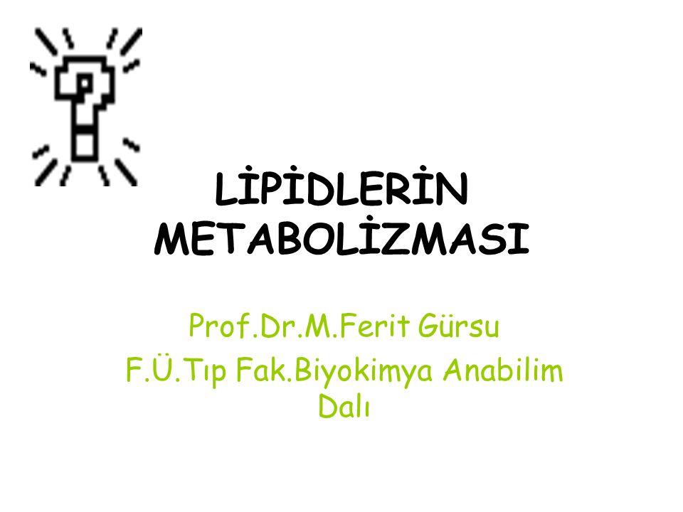 LİPİDLERİN METABOLİZMASI Prof.Dr.M.Ferit Gürsu F.Ü.Tıp Fak.Biyokimya Anabilim Dalı