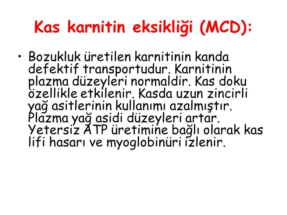 Kas karnitin eksikliği (MCD): Bozukluk üretilen karnitinin kanda defektif transportudur.