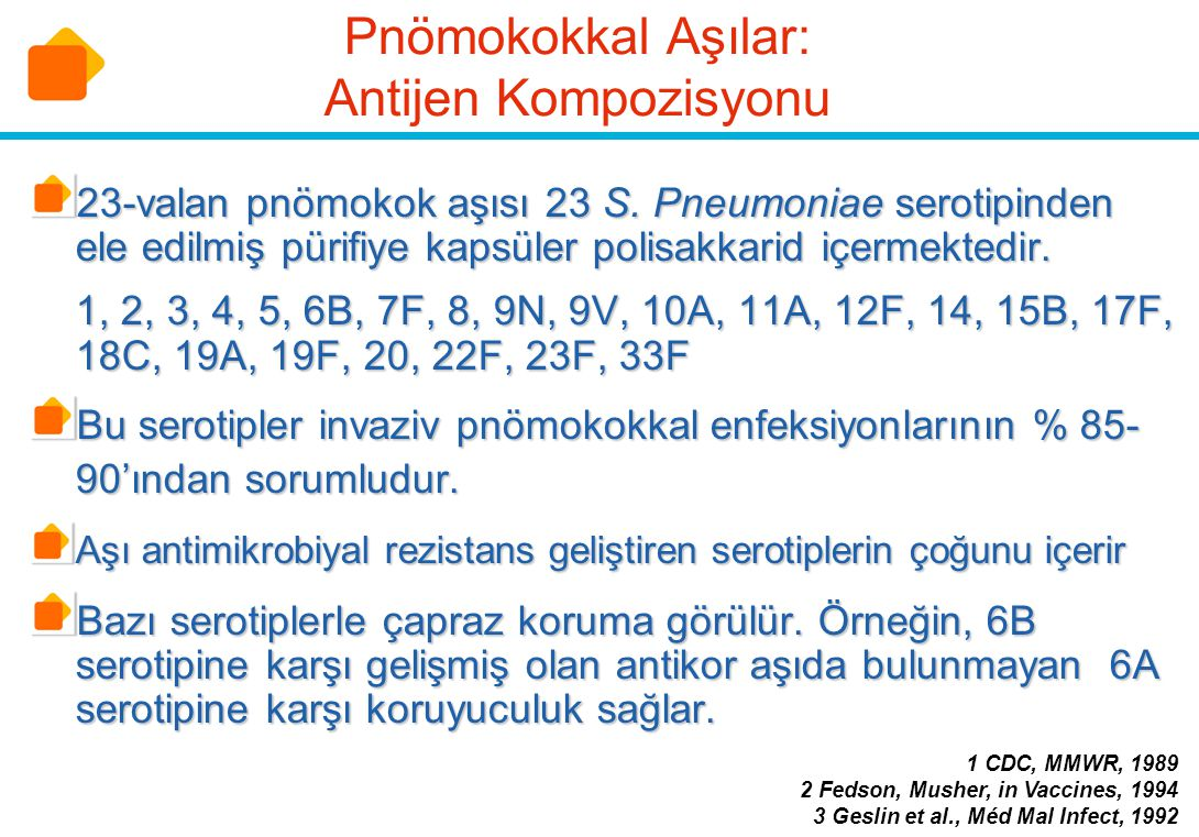 Pnömokokkal Aşılar: Antijen Kompozisyonu 23-valan pnömokok aşısı 23 S. Pneumoniae serotipinden ele edilmiş pürifiye kapsüler polisakkarid içermektedir