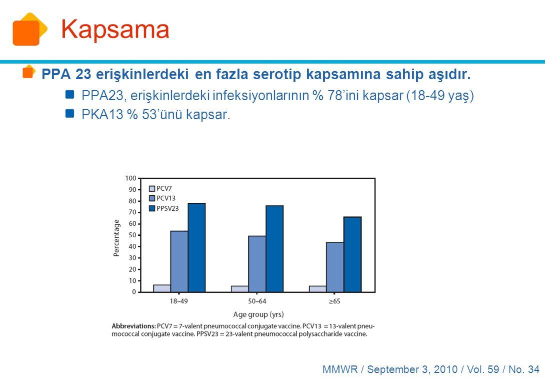 Kapsama PPA 23 erişkinlerdeki en fazla serotip kapsamına sahip aşıdır. PPA23, erişkinlerdeki infeksiyonlarının % 78'ini kapsar (18-49 yaş) PKA13 % 53'