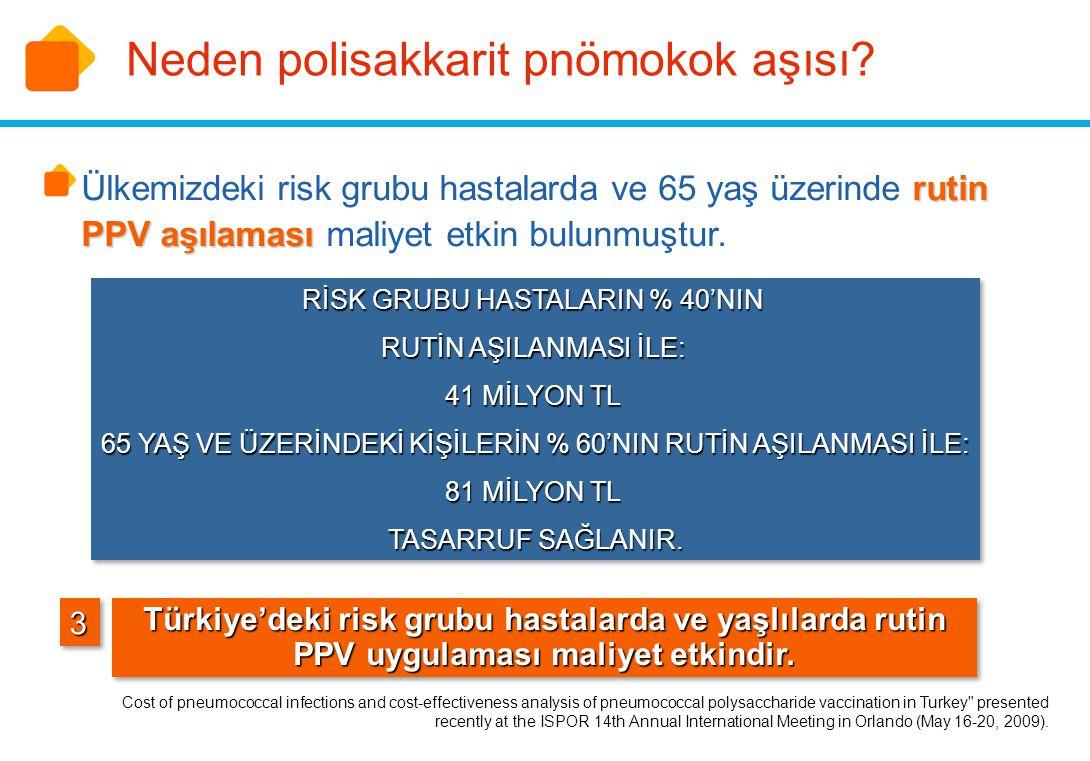 33 Türkiye'deki risk grubu hastalarda ve yaşlılarda rutin PPV uygulaması maliyet etkindir. rutin PPV aşılaması Ülkemizdeki risk grubu hastalarda ve 65