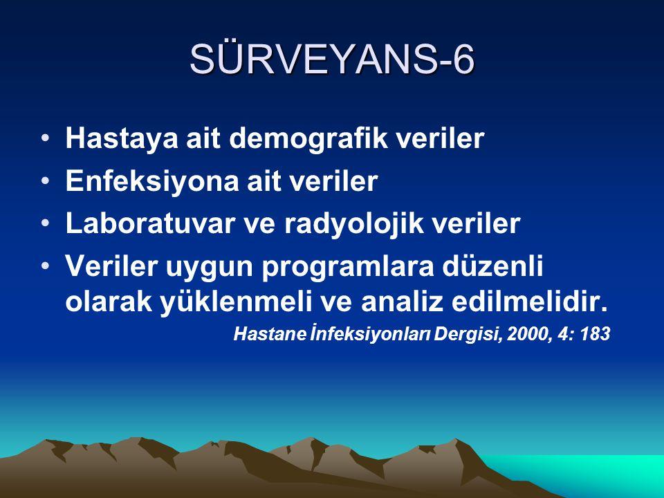 SÜRVEYANS-6 Hastaya ait demografik veriler Enfeksiyona ait veriler Laboratuvar ve radyolojik veriler Veriler uygun programlara düzenli olarak yüklenmeli ve analiz edilmelidir.