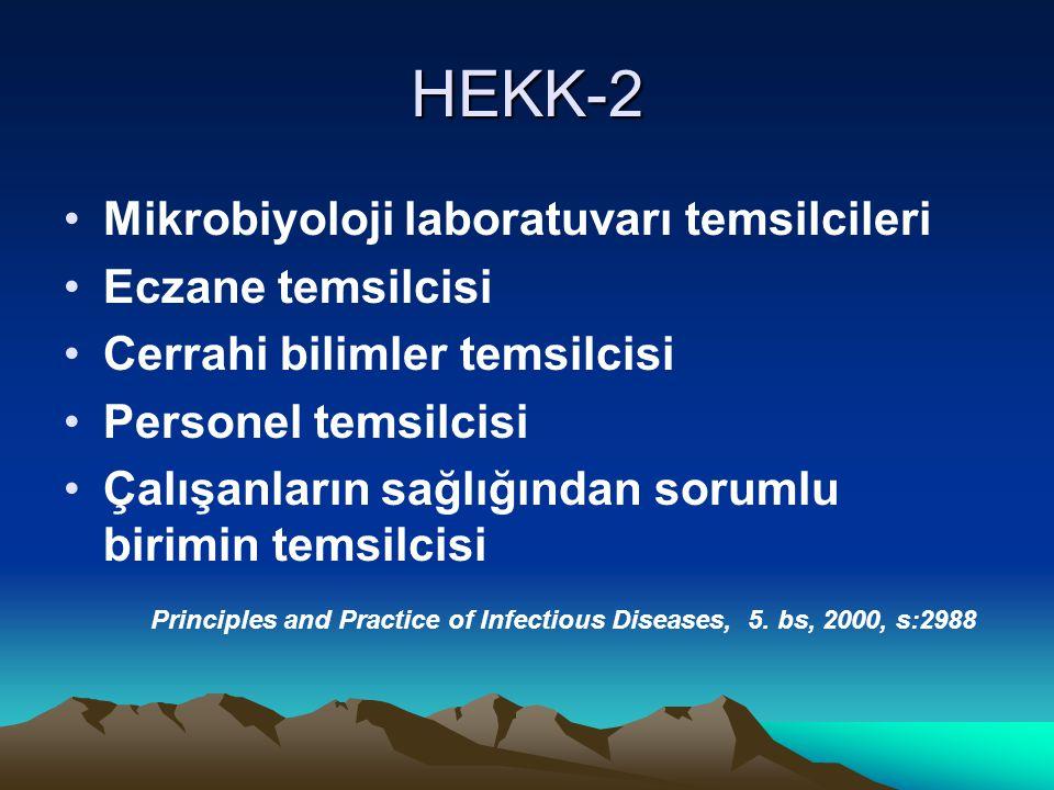 HEKK-2 Mikrobiyoloji laboratuvarı temsilcileri Eczane temsilcisi Cerrahi bilimler temsilcisi Personel temsilcisi Çalışanların sağlığından sorumlu birimin temsilcisi Principles and Practice of Infectious Diseases, 5.