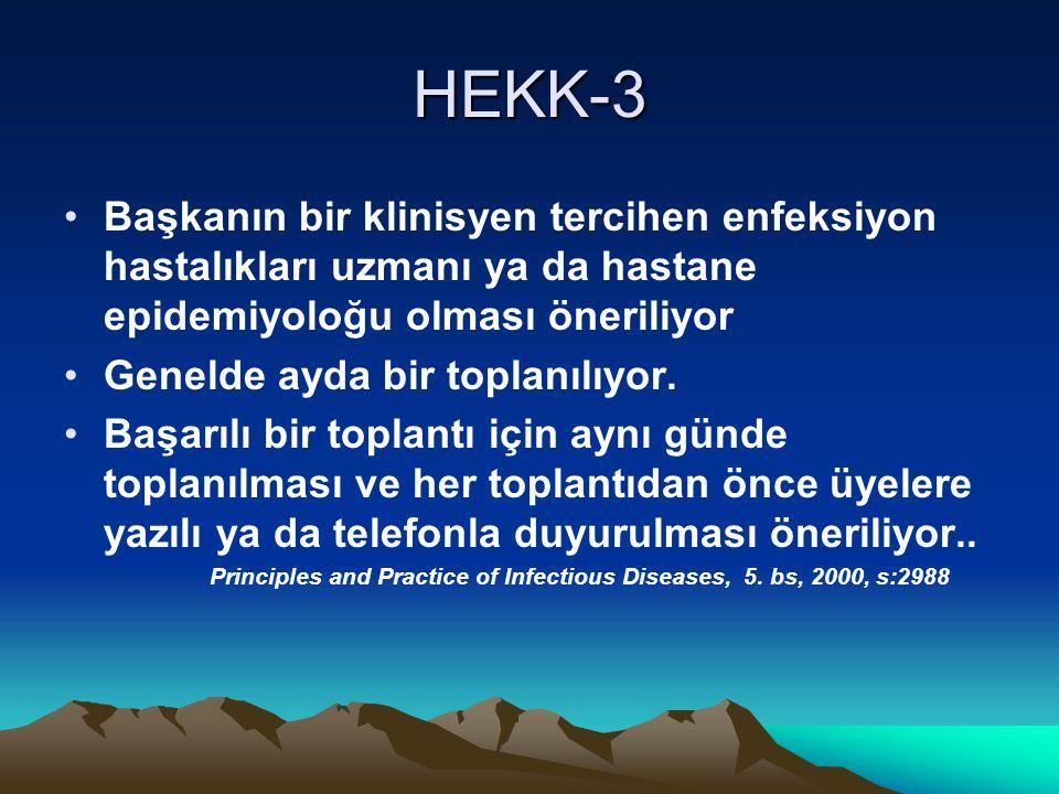 HEKK-3 Başkanın bir klinisyen tercihen enfeksiyon hastalıkları uzmanı ya da hastane epidemiyoloğu olması öneriliyor Genelde ayda bir toplanılıyor.