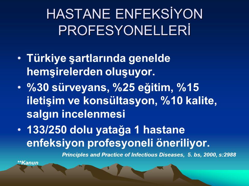 HASTANE ENFEKSİYON PROFESYONELLERİ Türkiye şartlarında genelde hemşirelerden oluşuyor.