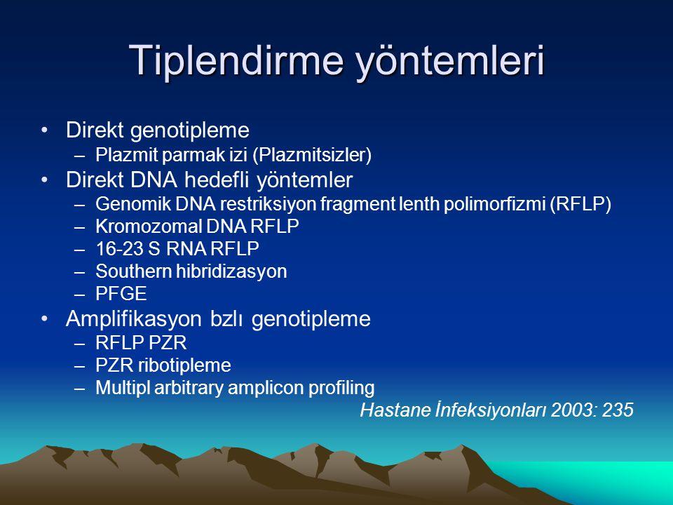 Tiplendirme yöntemleri Direkt genotipleme –Plazmit parmak izi (Plazmitsizler) Direkt DNA hedefli yöntemler –Genomik DNA restriksiyon fragment lenth polimorfizmi (RFLP) –Kromozomal DNA RFLP –16-23 S RNA RFLP –Southern hibridizasyon –PFGE Amplifikasyon bzlı genotipleme –RFLP PZR –PZR ribotipleme –Multipl arbitrary amplicon profiling Hastane İnfeksiyonları 2003: 235