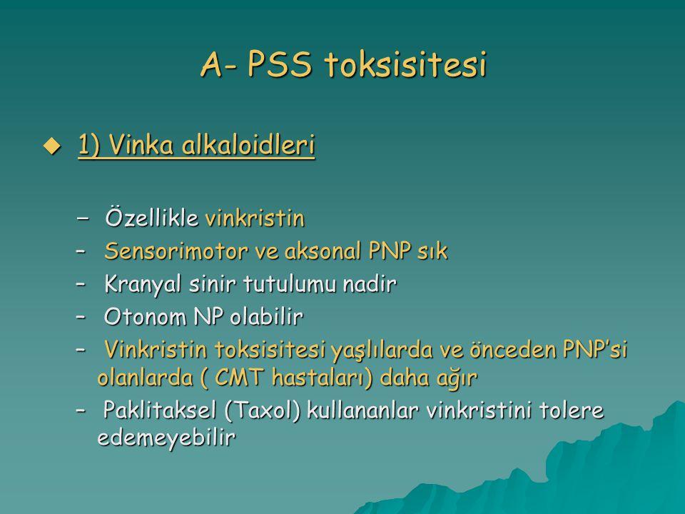 A- PSS toksisitesi  1) Vinka alkaloidleri – Özellikle vinkristin – Sensorimotor ve aksonal PNP sık – Kranyal sinir tutulumu nadir – Otonom NP olabilir – Vinkristin toksisitesi yaşlılarda ve önceden PNP'si olanlarda ( CMT hastaları) daha ağır – Paklitaksel (Taxol) kullananlar vinkristini tolere edemeyebilir