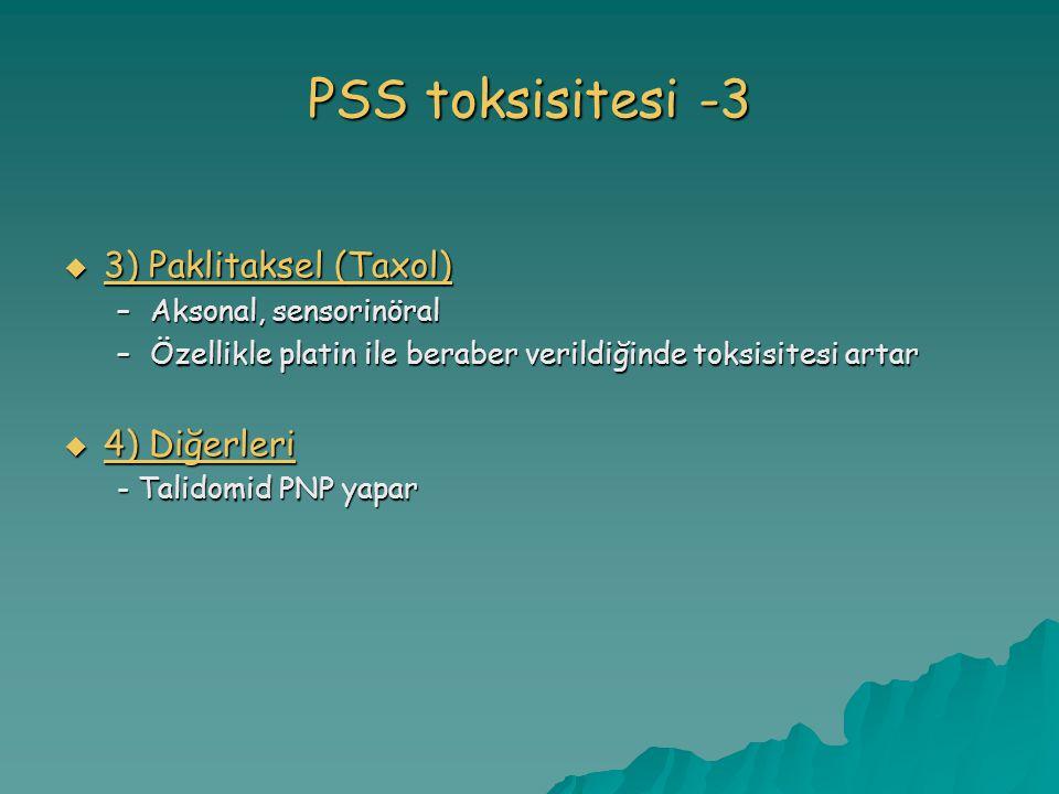 PSS toksisitesi -3  3) Paklitaksel (Taxol) –Aksonal, sensorinöral –Özellikle platin ile beraber verildiğinde toksisitesi artar  4) Diğerleri - Talidomid PNP yapar