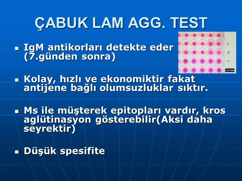 ÇABUK LAM AGG. TEST IgM antikorları detekte eder (7.günden sonra) IgM antikorları detekte eder (7.günden sonra) Kolay, hızlı ve ekonomiktir fakat anti
