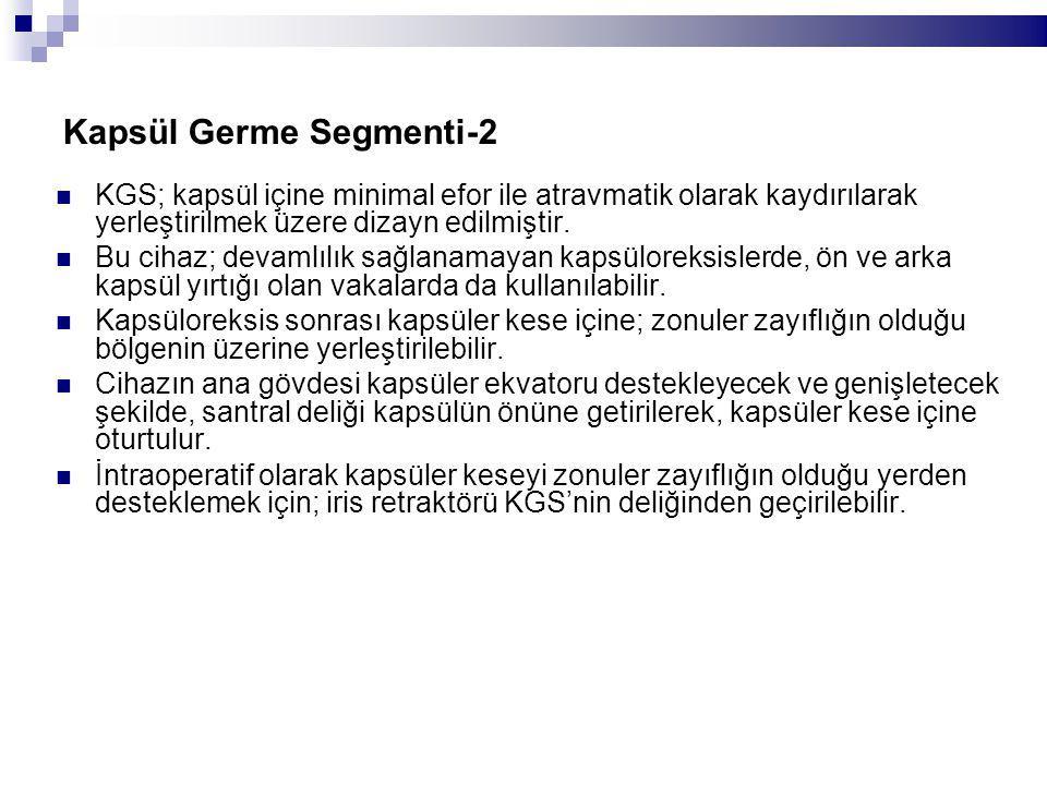 Kapsül Germe Segmenti-2 KGS; kapsül içine minimal efor ile atravmatik olarak kaydırılarak yerleştirilmek üzere dizayn edilmiştir.