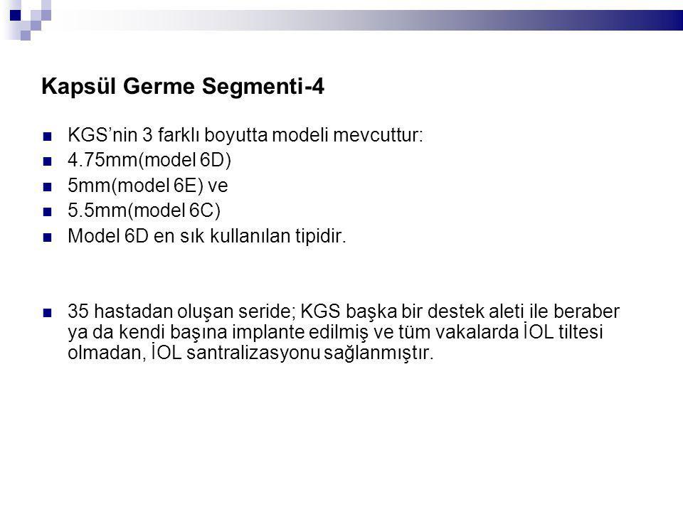 Kapsül Germe Segmenti-4 KGS'nin 3 farklı boyutta modeli mevcuttur: 4.75mm(model 6D) 5mm(model 6E) ve 5.5mm(model 6C) Model 6D en sık kullanılan tipidir.