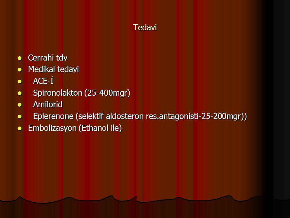 Tedavi Cerrahi tdv Cerrahi tdv Medikal tedavi Medikal tedavi ACE-İ ACE-İ Spironolakton (25-400mgr) Spironolakton (25-400mgr) Amilorid Amilorid Epleren