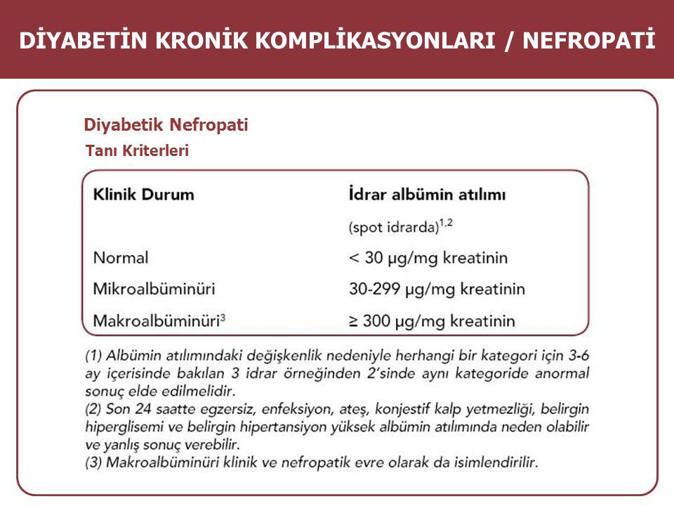 Tanı Kriterleri Diyabetik Nefropati DİYABETİN KRONİK KOMPLİKASYONLARI / NEFROPATİ