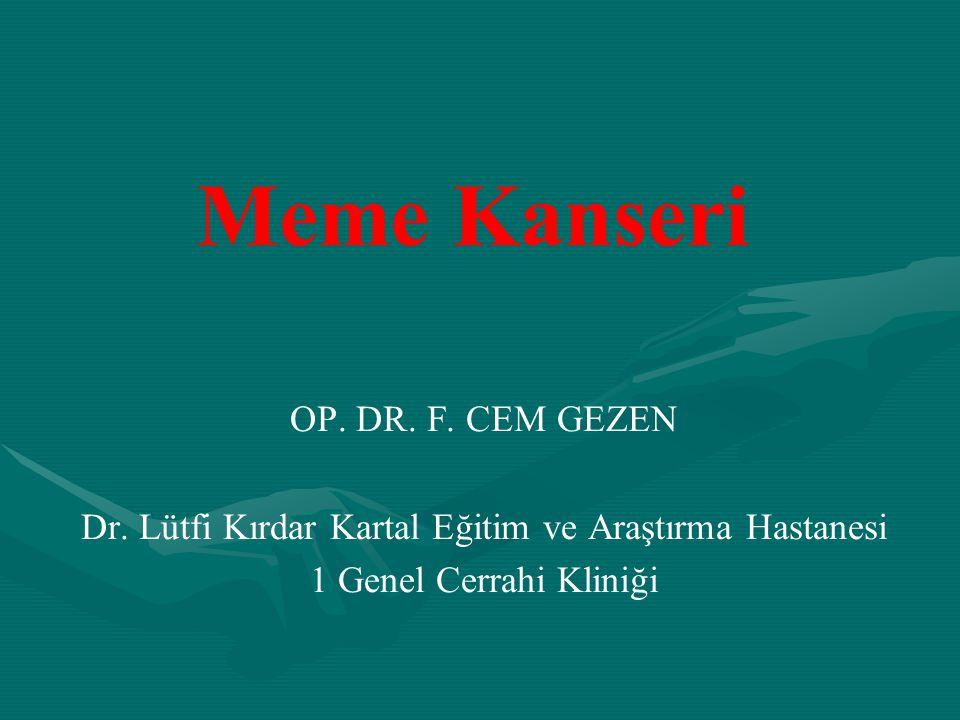 Meme Kanseri OP. DR. F. CEM GEZEN Dr. Lütfi Kırdar Kartal Eğitim ve Araştırma Hastanesi 1 Genel Cerrahi Kliniği