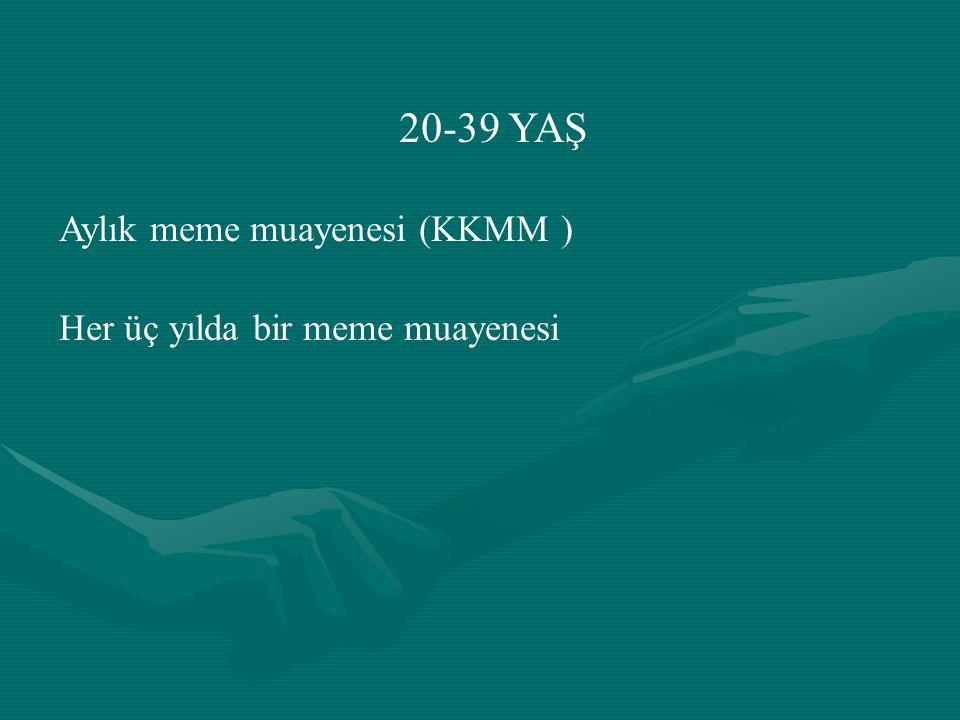 20-39 YAŞ Aylık meme muayenesi (KKMM ) Her üç yılda bir meme muayenesi