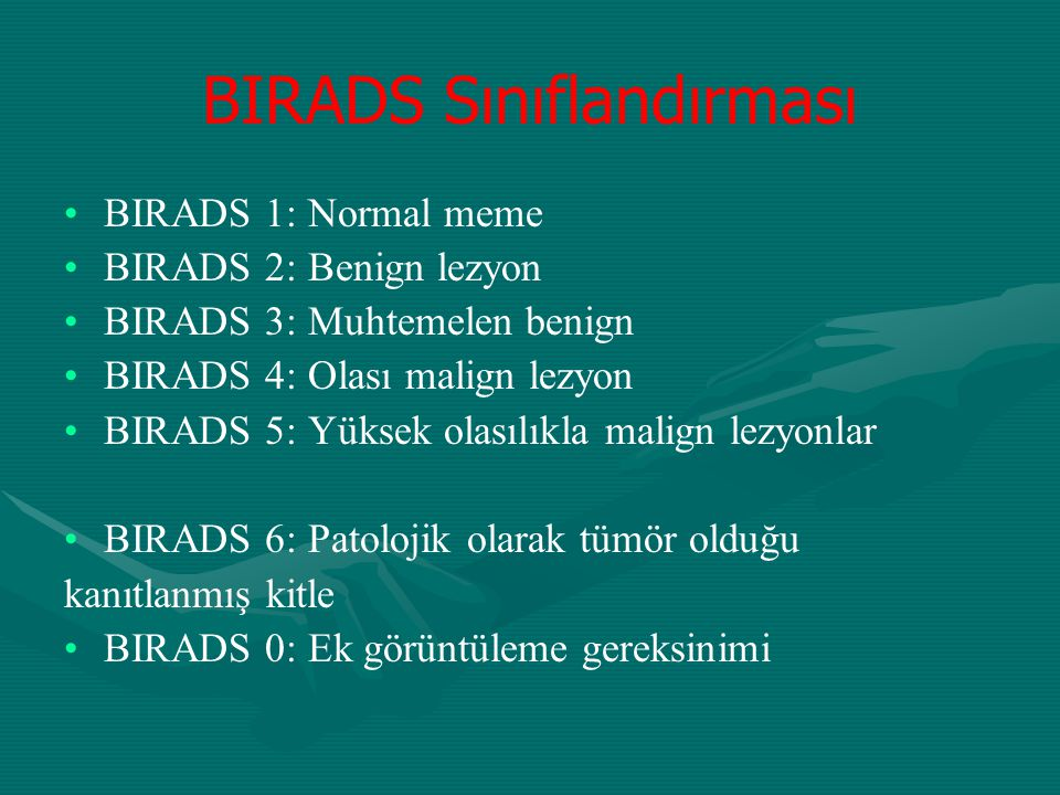 BIRADS Sınıflandırması BIRADS 1: Normal meme BIRADS 2: Benign lezyon BIRADS 3: Muhtemelen benign BIRADS 4: Olası malign lezyon BIRADS 5: Yüksek olasıl