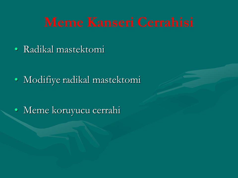 Meme Kanseri Cerrahisi Radikal mastektomiRadikal mastektomi Modifiye radikal mastektomiModifiye radikal mastektomi Meme koruyucu cerrahiMeme koruyucu