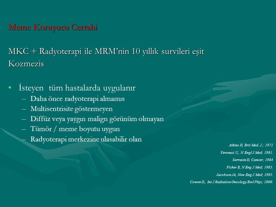 Meme Koruyucu Cerrahi MKC + Radyoterapi ile MRM'nin 10 yıllık survileri eşit Kozmezis İsteyen tüm hastalarda uygulanır – –Daha önce radyoterapi almamı