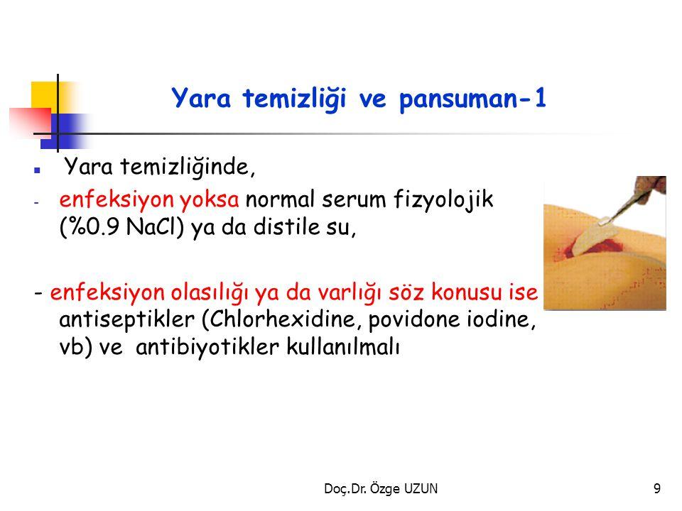 Yara temizliği ve pansuman-1 Yara temizliğinde, - enfeksiyon yoksa normal serum fizyolojik (%0.9 NaCl) ya da distile su, - enfeksiyon olasılığı ya da
