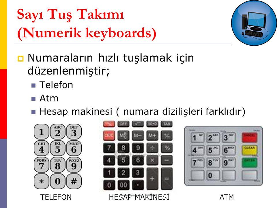 Sayı Tuş Takımı (Numerik keyboards)  Numaraların hızlı tuşlamak için düzenlenmiştir; Telefon Atm Hesap makinesi ( numara dizilişleri farklıdır) TELEFONHESAP MAKİNESİATM