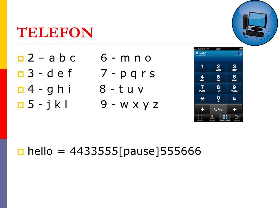 TELEFON  2 – a b c6 - m n o  3 - d e f 7 - p q r s  4 - g h i 8 - t u v  5 - j k l9 - w x y z  hello = 4433555[pause]555666