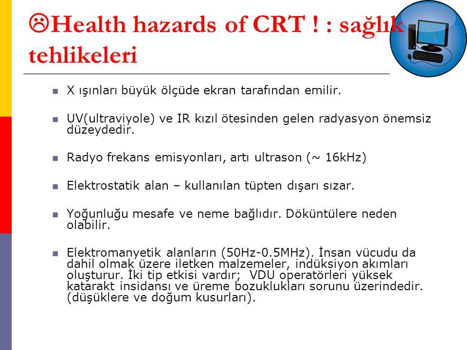  Health hazards of CRT .: sağlık tehlikeleri X ışınları büyük ölçüde ekran tarafından emilir.