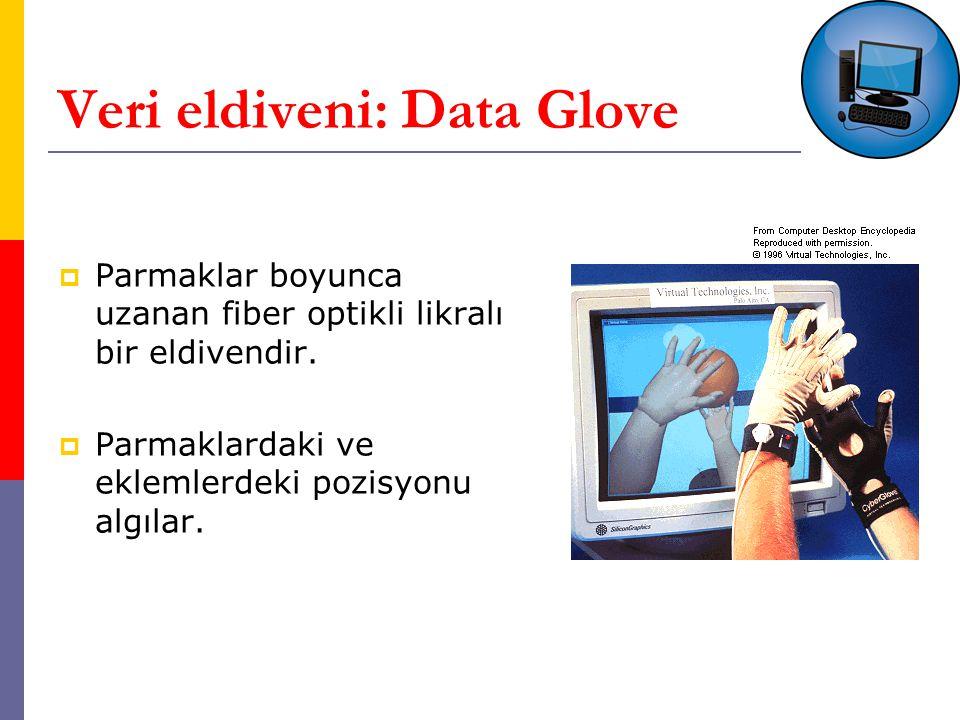 Veri eldiveni: Data Glove  Parmaklar boyunca uzanan fiber optikli likralı bir eldivendir.
