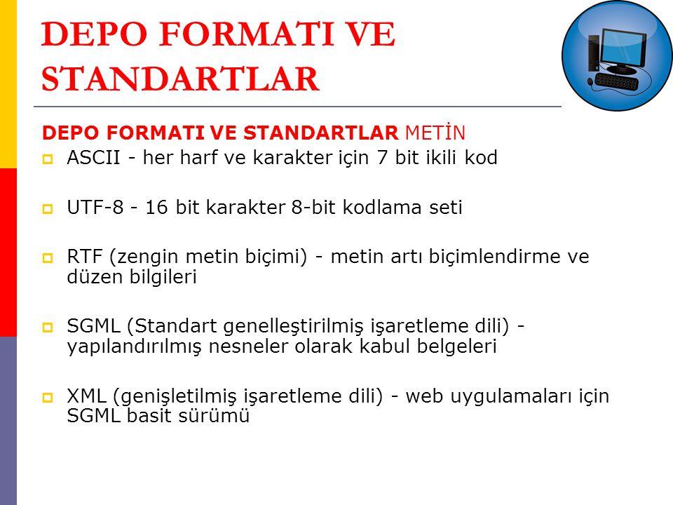 DEPO FORMATI VE STANDARTLAR DEPO FORMATI VE STANDARTLAR METİN  ASCII - her harf ve karakter için 7 bit ikili kod  UTF-8 - 16 bit karakter 8-bit kodlama seti  RTF (zengin metin biçimi) - metin artı biçimlendirme ve düzen bilgileri  SGML (Standart genelleştirilmiş işaretleme dili) - yapılandırılmış nesneler olarak kabul belgeleri  XML (genişletilmiş işaretleme dili) - web uygulamaları için SGML basit sürümü