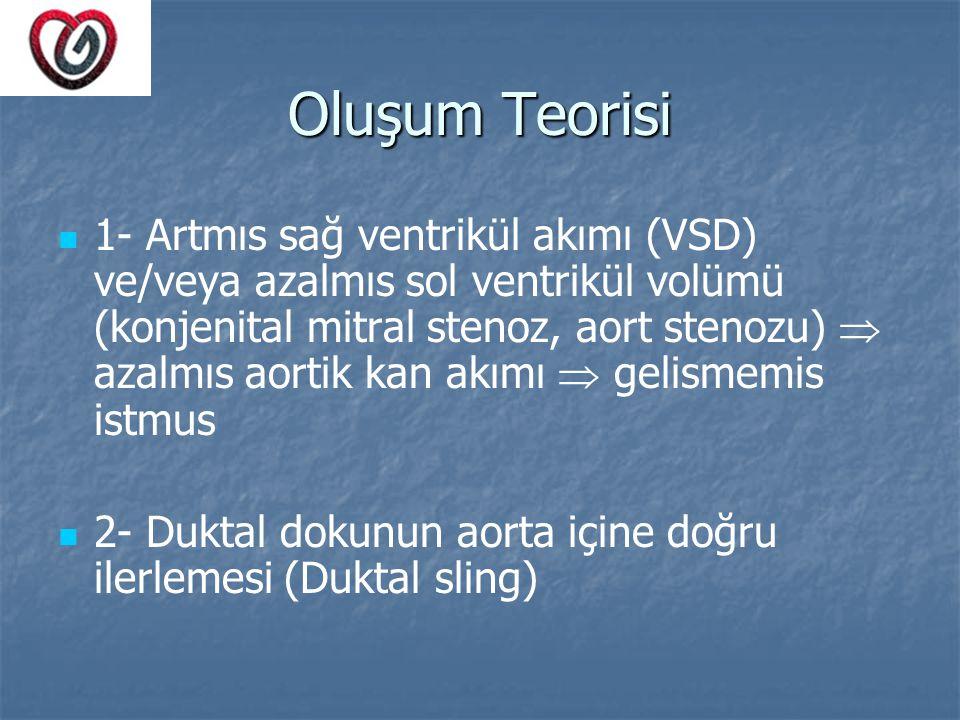 Oluşum Teorisi 1- Artmıs sağ ventrikül akımı (VSD) ve/veya azalmıs sol ventrikül volümü (konjenital mitral stenoz, aort stenozu)  azalmıs aortik kan
