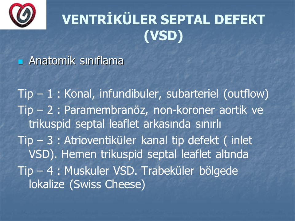 VENTRİKÜLER SEPTAL DEFEKT (VSD) Anatomik sınıflama Anatomik sınıflama Tip – 1 : Konal, infundibuler, subarteriel (outflow) Tip – 2 : Paramembranöz, no