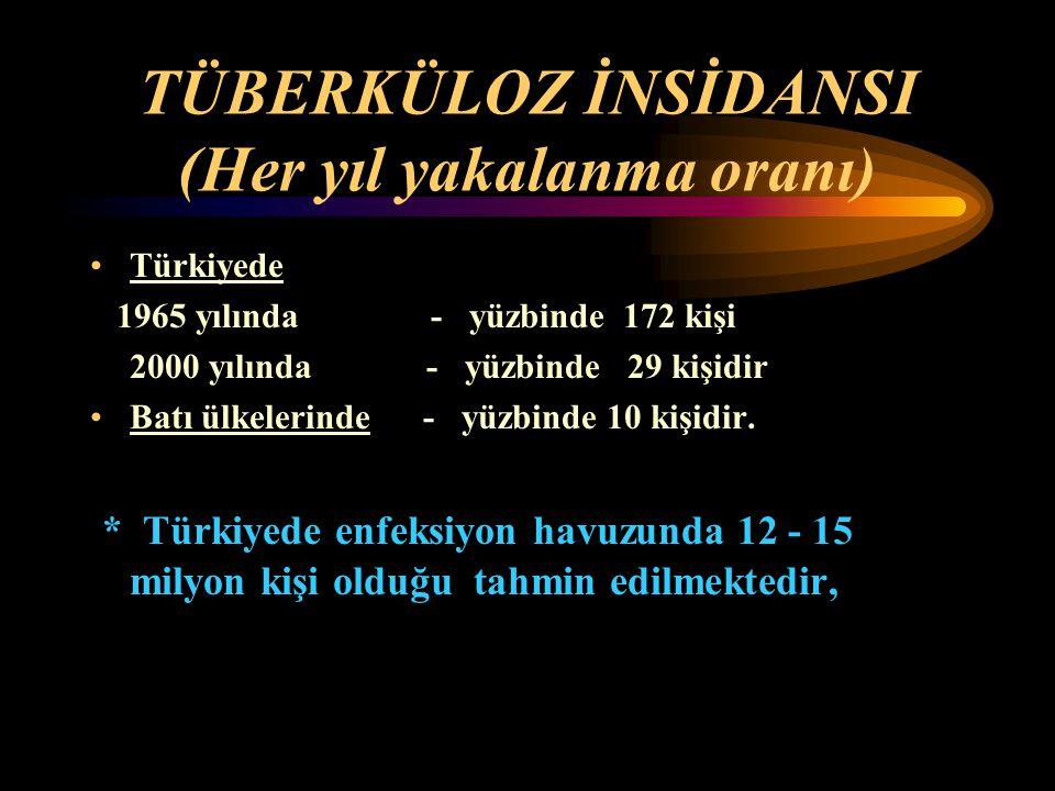 TÜBERKÜLOZ İNSİDANSI (Her yıl yakalanma oranı) Türkiyede 1965 yılında - yüzbinde 172 kişi 2000 yılında - yüzbinde 29 kişidir Batı ülkelerinde - yüzbin