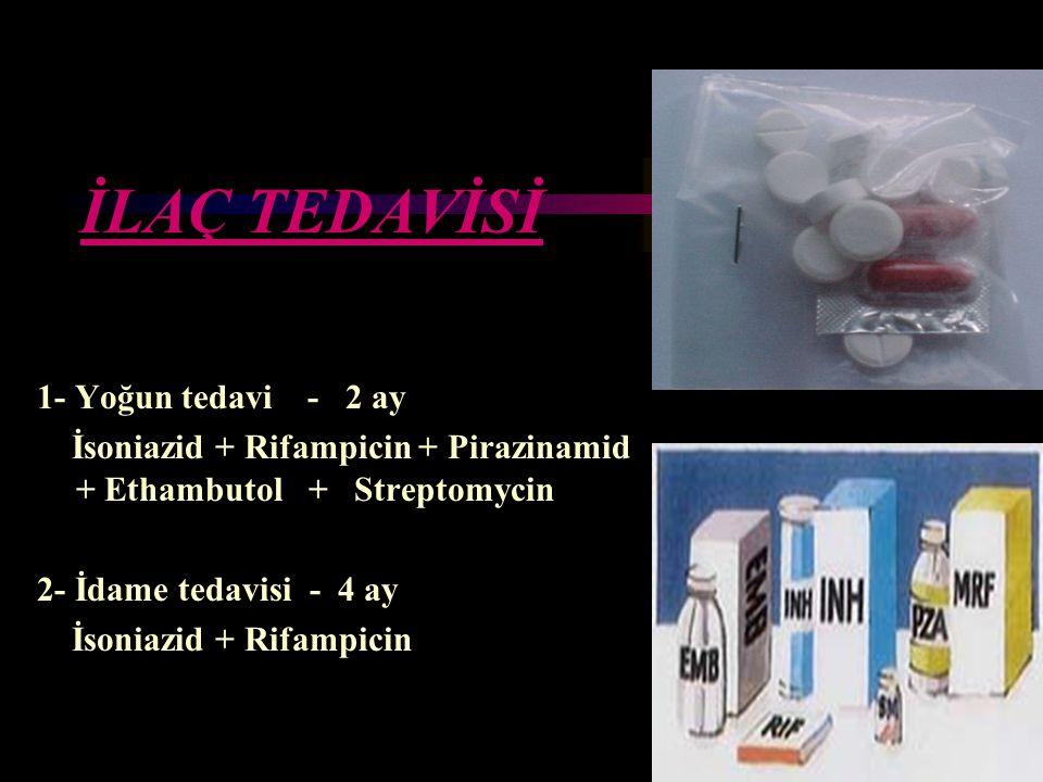 İLAÇ TEDAVİSİ 1- Yoğun tedavi - 2 ay İsoniazid + Rifampicin + Pirazinamid + Ethambutol + Streptomycin 2- İdame tedavisi - 4 ay İsoniazid + Rifampicin