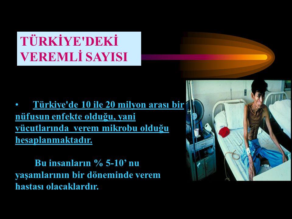 TÜRKİYE'DEKİ VEREMLİ SAYISI Türkiye'de 10 ile 20 milyon arası bir nüfusun enfekte olduğu, yani vücutlarında verem mikrobu olduğu hesaplanmaktadır. Bu