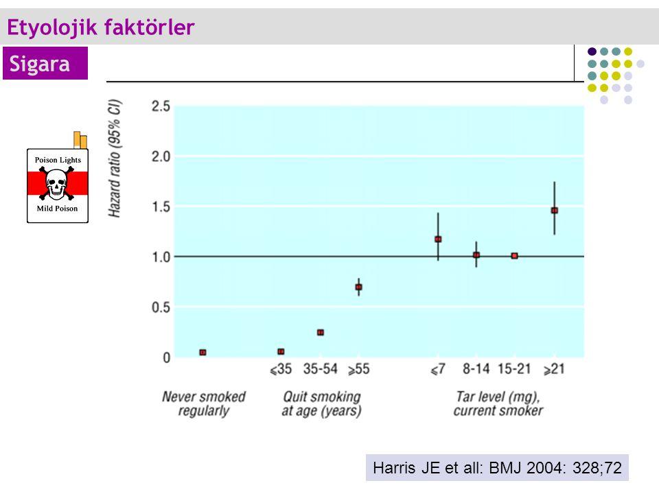 Harris JE et all: BMJ 2004: 328;72 Etyolojik faktörler Sigara