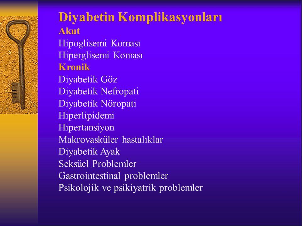 Diyabetin Komplikasyonları Akut Hipoglisemi Koması Hiperglisemi Koması Kronik Diyabetik Göz Diyabetik Nefropati Diyabetik Nöropati Hiperlipidemi Hipertansiyon Makrovasküler hastalıklar Diyabetik Ayak Seksüel Problemler Gastrointestinal problemler Psikolojik ve psikiyatrik problemler