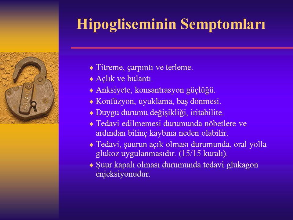 Hipogliseminin Semptomları  Titreme, çarpıntı ve terleme.