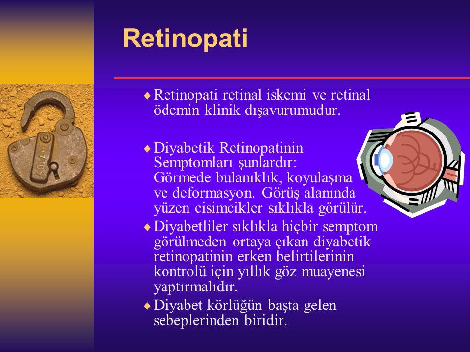 Retinopati  Retinopati retinal iskemi ve retinal ödemin klinik dışavurumudur.