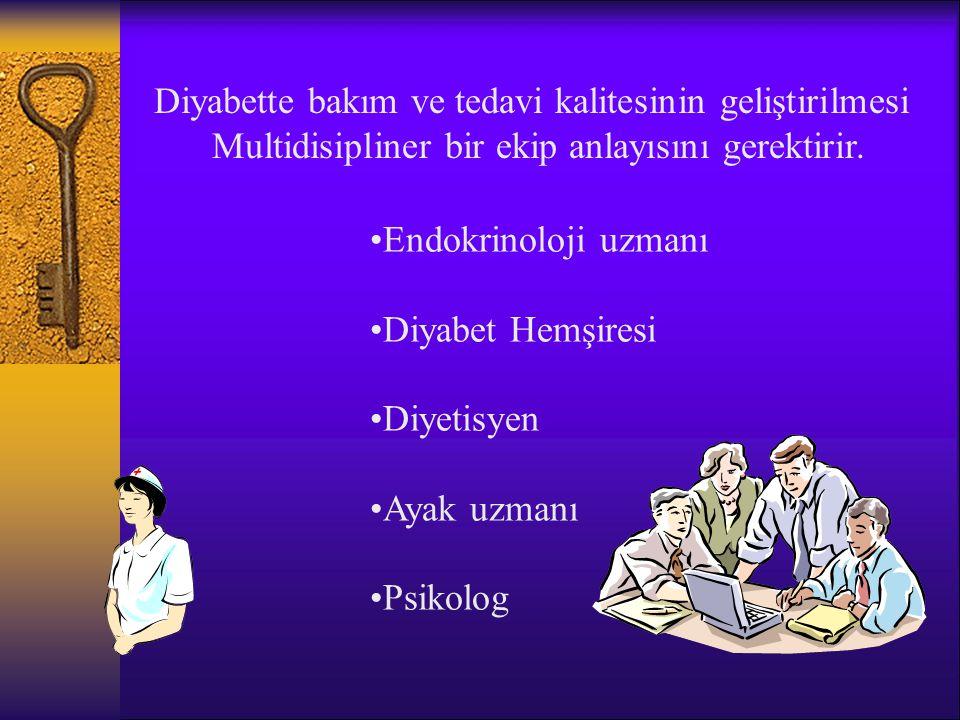 Diyabette bakım ve tedavi kalitesinin geliştirilmesi Multidisipliner bir ekip anlayısını gerektirir.