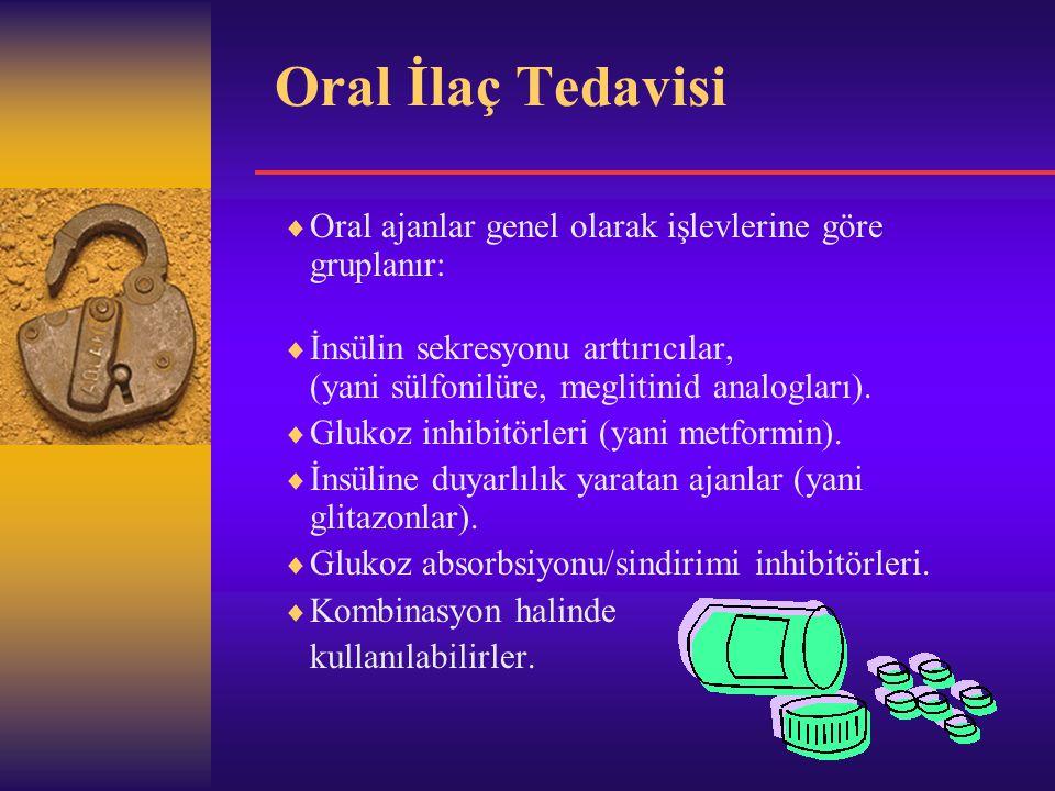 Oral İlaç Tedavisi  Oral ajanlar genel olarak işlevlerine göre gruplanır:  İnsülin sekresyonu arttırıcılar, (yani sülfonilüre, meglitinid analogları).