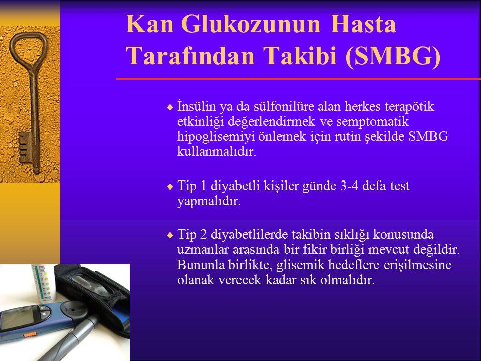 Kan Glukozunun Hasta Tarafından Takibi (SMBG)  İnsülin ya da sülfonilüre alan herkes terapötik etkinliği değerlendirmek ve semptomatik hipoglisemiyi önlemek için rutin şekilde SMBG kullanmalıdır.