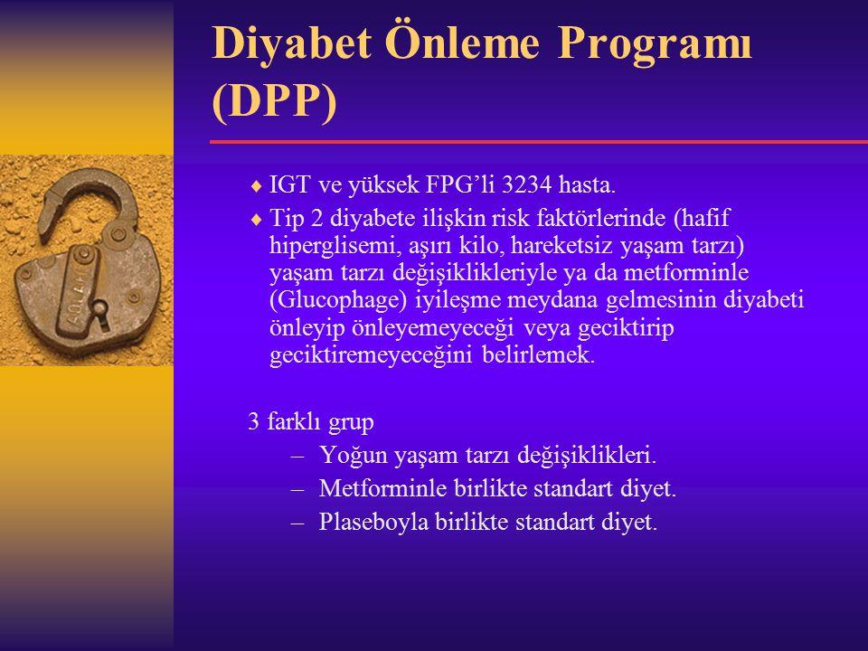 Diyabet Önleme Programı (DPP)  IGT ve yüksek FPG'li 3234 hasta.