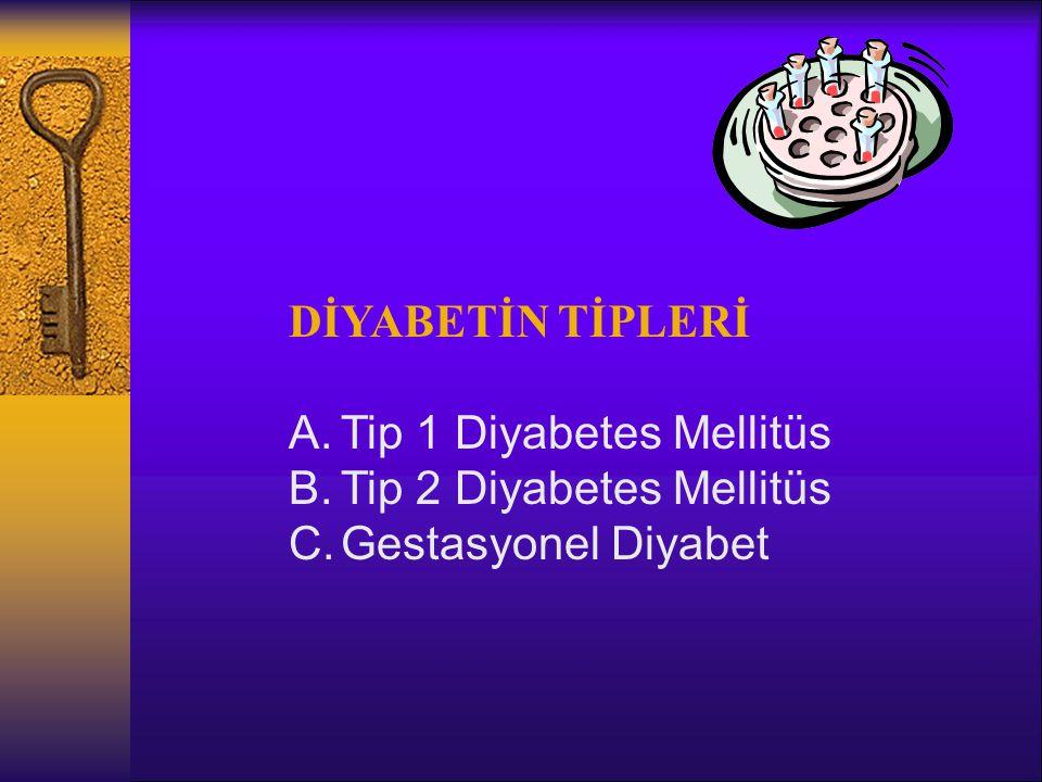 DİYABETİN TİPLERİ A.Tip 1 Diyabetes Mellitüs B.Tip 2 Diyabetes Mellitüs C.Gestasyonel Diyabet
