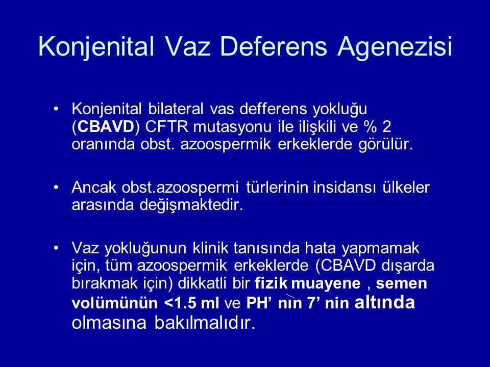 Konjenital bilateral vas defferens yokluğu (CBAVD) CFTR mutasyonu ile ilişkili ve % 2 oranında obst. azoospermik erkeklerde görülür. Ancak obst.azoosp