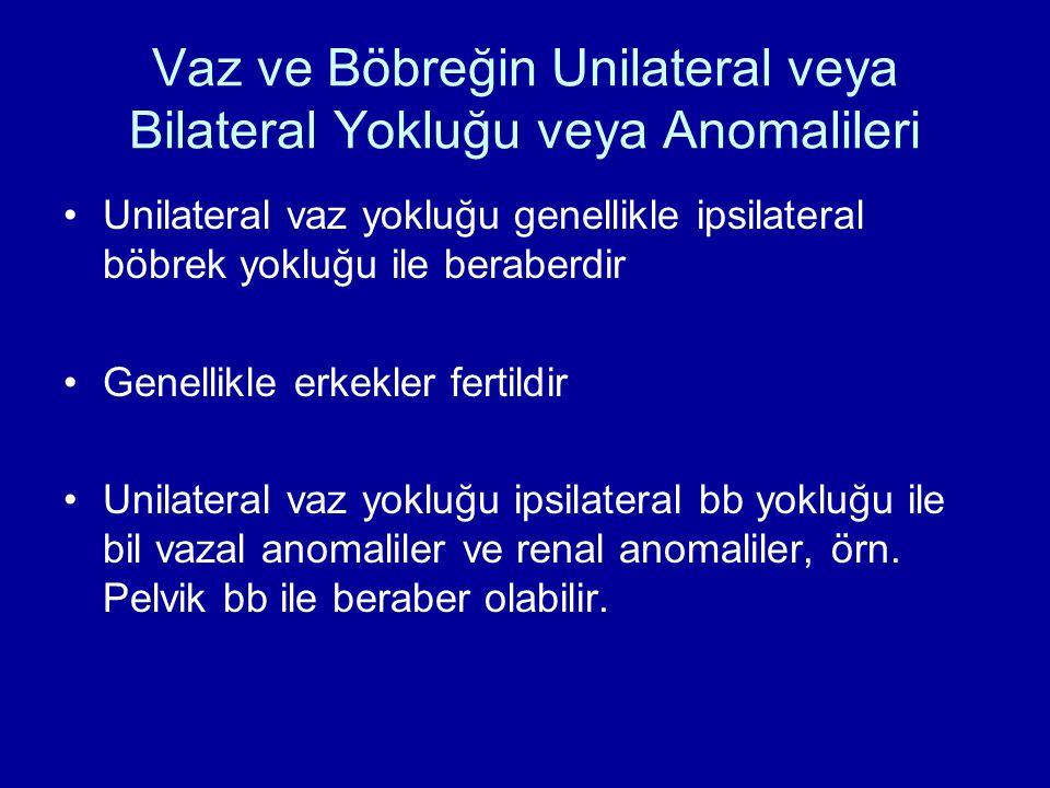 Vaz ve Böbreğin Unilateral veya Bilateral Yokluğu veya Anomalileri Unilateral vaz yokluğu genellikle ipsilateral böbrek yokluğu ile beraberdir Genellikle erkekler fertildir Unilateral vaz yokluğu ipsilateral bb yokluğu ile bil vazal anomaliler ve renal anomaliler, örn.