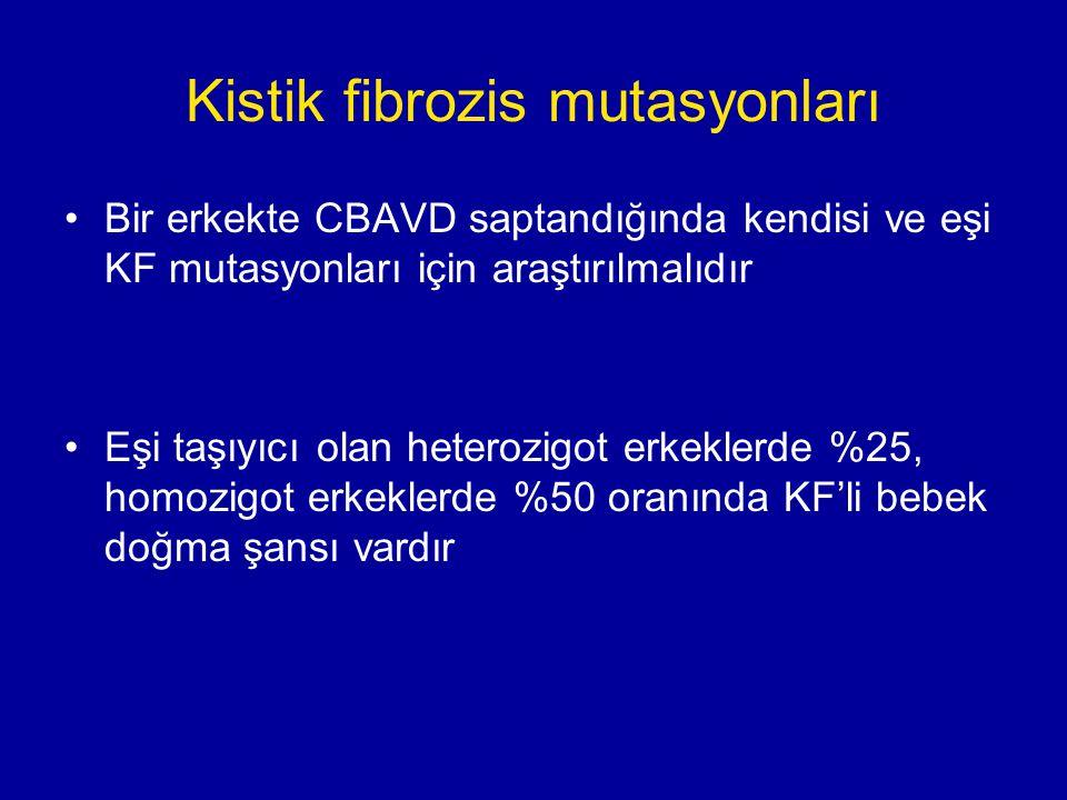 Kistik fibrozis mutasyonları Bir erkekte CBAVD saptandığında kendisi ve eşi KF mutasyonları için araştırılmalıdır Eşi taşıyıcı olan heterozigot erkeklerde %25, homozigot erkeklerde %50 oranında KF'li bebek doğma şansı vardır
